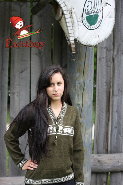 Olive Green Sweater With Bisons Chandail Vert Olive Avec Bisons Unisex 3