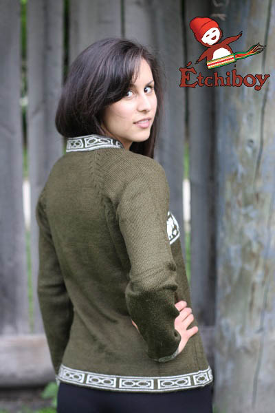 Olive Green Sweater With Bisons Chandail Vert Olive Avec Bisons Unisex 4