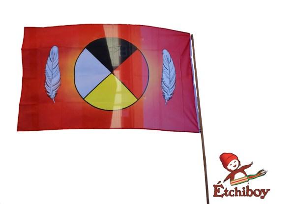 Medicine Wheel Flag Drapeau Roue Médicinale Full Size 1