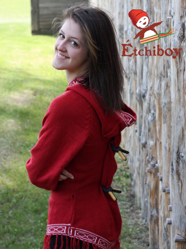 Hooded Red Sweater With Bison Chandail Rouge Avec Capuchon Avec Bisons 3