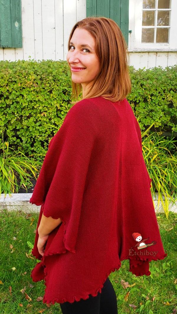 Flower Shawl Wine Red Châle Fleuri Rouge Vin 2
