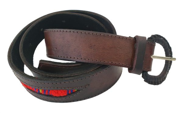 Leather Belt with Sash Inserts Ceinture de Cuir avec la Ceinture Fléchée Incrustrée 6