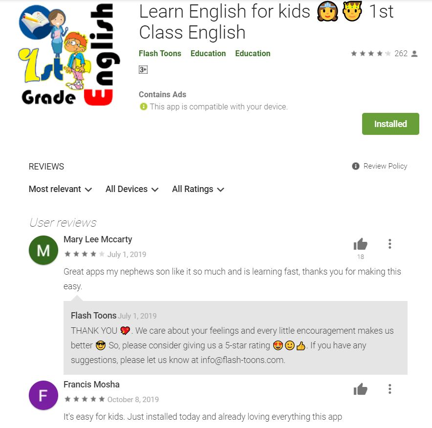 Reviews 1 -English for First Grade