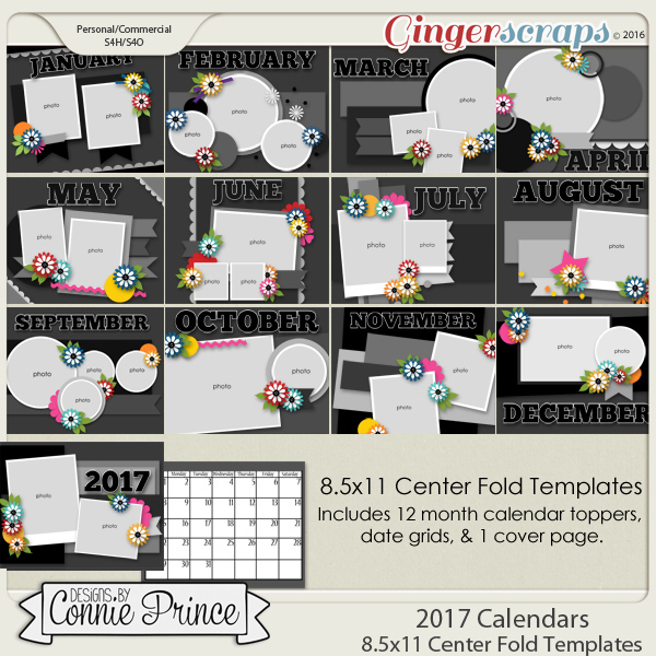 GingerScraps    Cards And Calendars    2017 Center Fold 8 5x11     2017 Center Fold 8 5x11 Calendar Templates  CU Ok