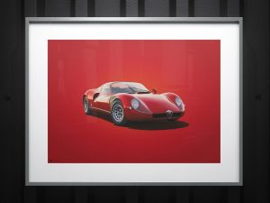 Alfa Romeo 33 Stradale - Red - 1967 - Colors of Speed Poster image 2 on GreatBritishMotorShows.com
