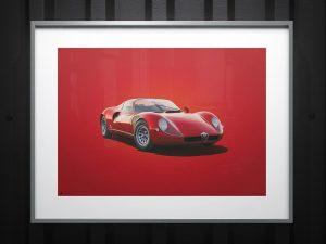 Alfa Romeo 33 Stradale - Red - 1967 - Colors of Speed Poster image 2 on GreatBritishMotorShows.com