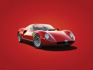 Alfa Romeo 33 Stradale - Red - 1967 - Colors of Speed Poster image 1 on GreatBritishMotorShows.com