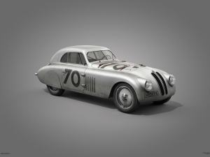 BMW 328 - Silver - Mille Miglia - 1940 - Colors of Speed Poster image 1 on GreatBritishMotorShows.com