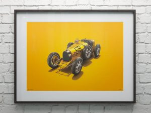 Bugatti T35 - Yellow - Targa Florio - 1928 - Colors of Speed Poster image 2 on GreatBritishMotorShows.com