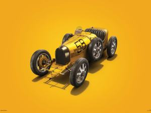Bugatti T35 - Yellow - Targa Florio - 1928 - Colors of Speed Poster image 1 on GreatBritishMotorShows.com