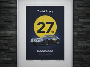 Ferrari 250 GTO - Dark Blue - Goodwood TT - 1962 - Limited Poster image 2 on GreatBritishMotorShows.com