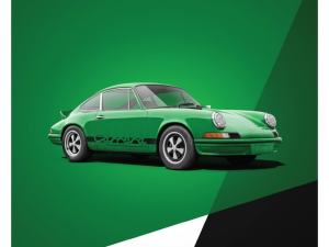 Porsche 911 RS - Green - Limited Poster image 1 on GreatBritishMotorShows.com