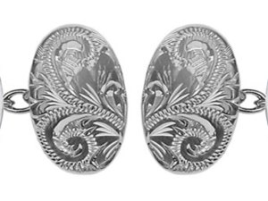 Large Oval Engraved & Plain Double Hallmarked Sterling Silver Cufflinks