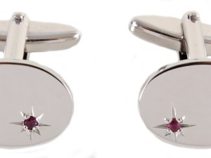 Oval Ruby Star Set Rhodium Plated Cufflinks