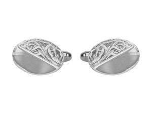 Sterling Silver Half-Engraved Oval Cufflinks