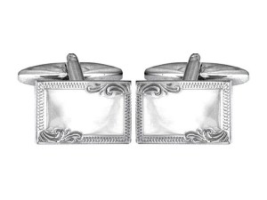 Sterling Silver Rectangle Engraved Edge Cufflinks.