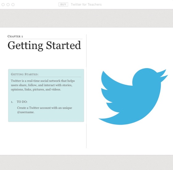Screenshot of Twitter for Teachers iBook Chapter 1