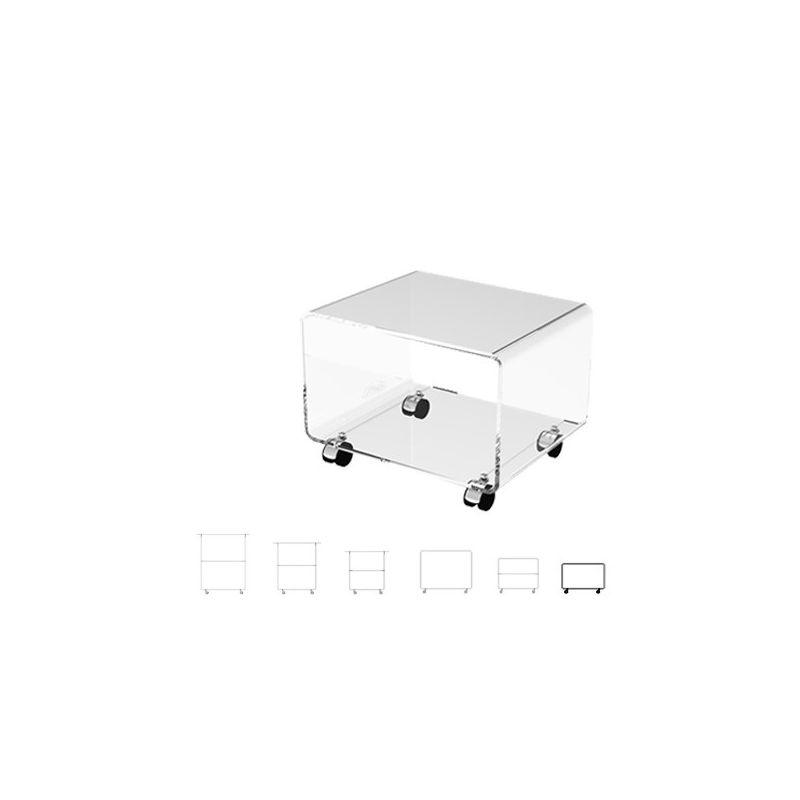 meuble tv bout de canape table de chevet design en plexi sur roulettes