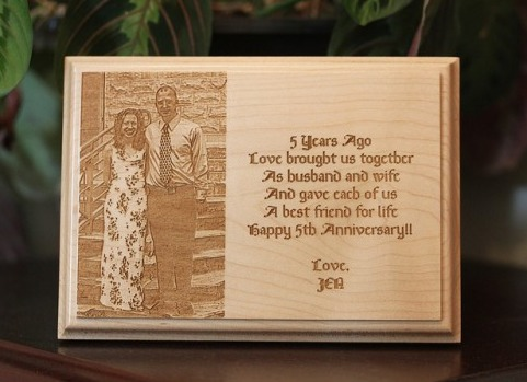 Custom Engraved Wooden Plaque Portrait In A Flash Laser