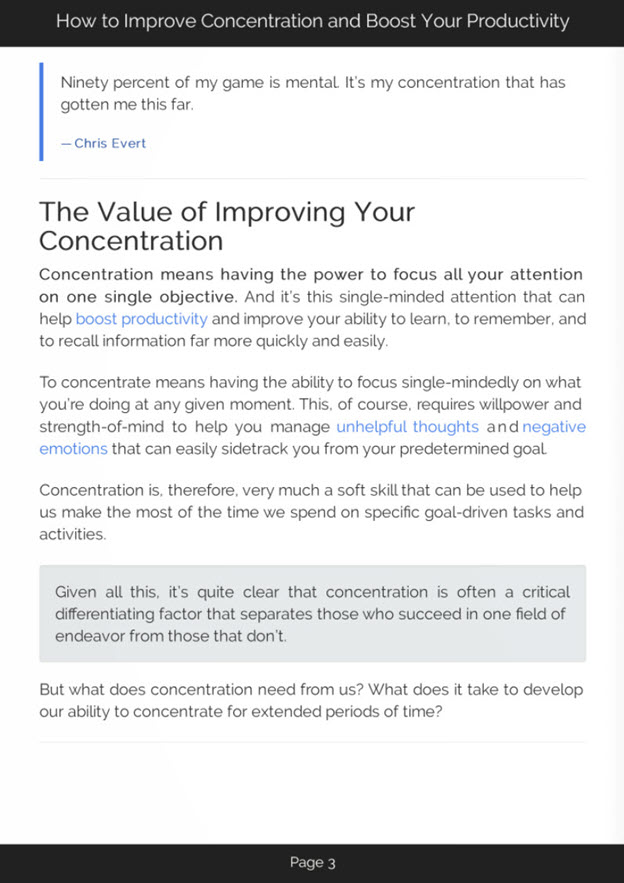 Improving Concentration eBook