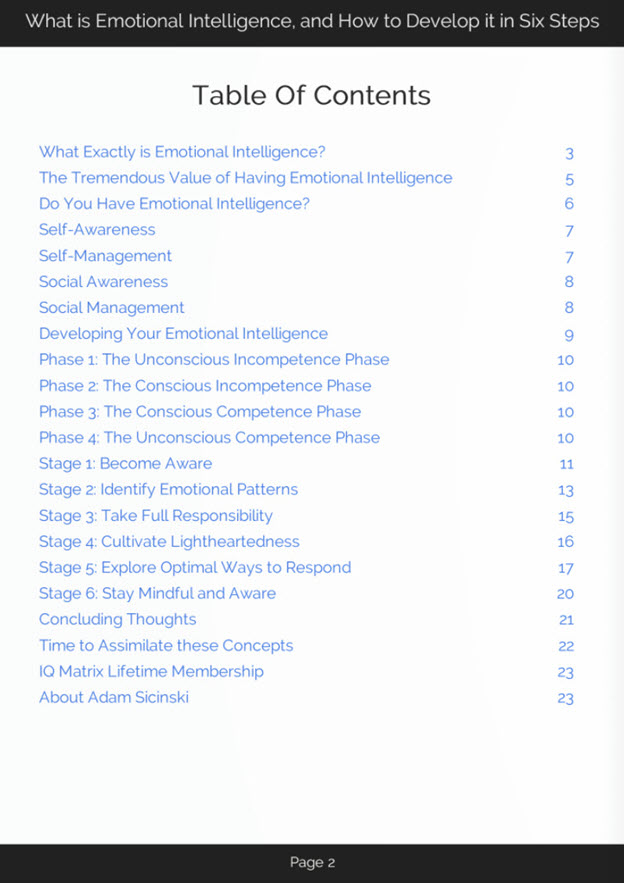 Developing Emotional Intelligence eBook Table of Contents