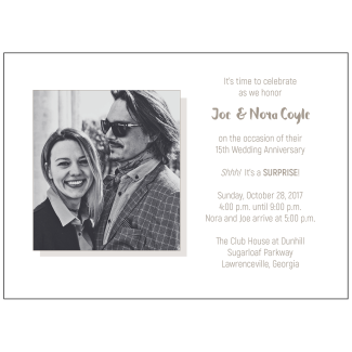 15th Wedding Anniversary Party Invitation with Photo