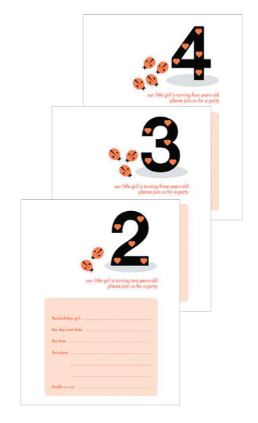 Kid's Birthday Party Invitations - Ladybugs