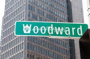 Street sign for Woodward Avenue, a main thoroughfare in the City of Detroit, Michigan. - Kelleher Photography Store
