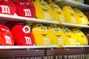 View of Red and Yellow MM pillows in the MM Store located in Times Square, NYC, NY on June 18, 2016 - Kelleher Photography Store