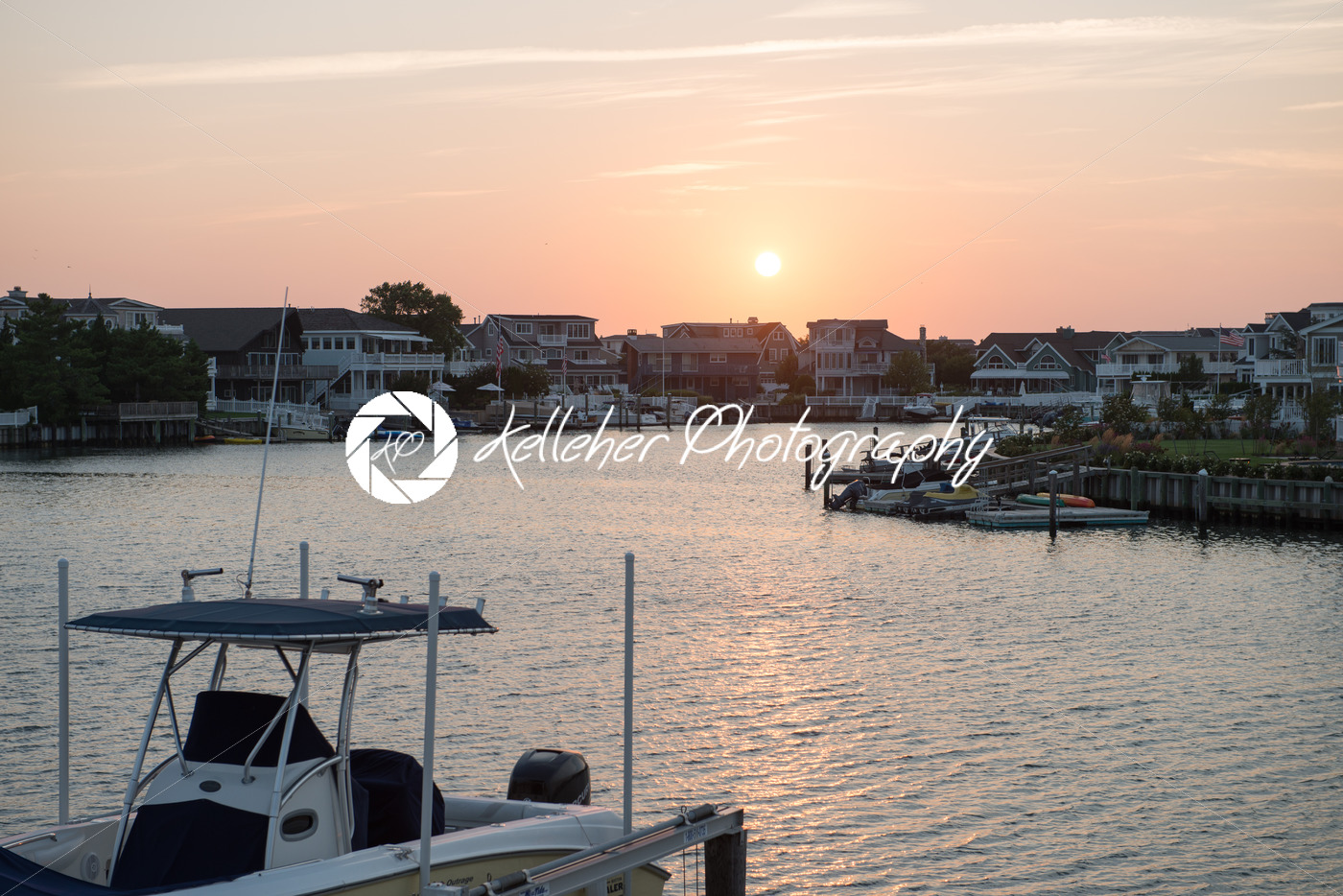 AVALON, NJ – AUGUST 30: Avalon Bay, beautiful bay with view of mansions and yachts at sunset on August 30, 2013 - Kelleher Photography Store