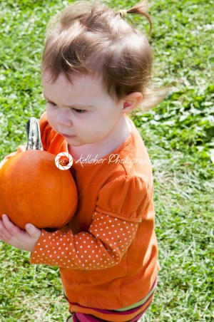 Young toddler girl outside holding a pumpkin - Kelleher Photography Store