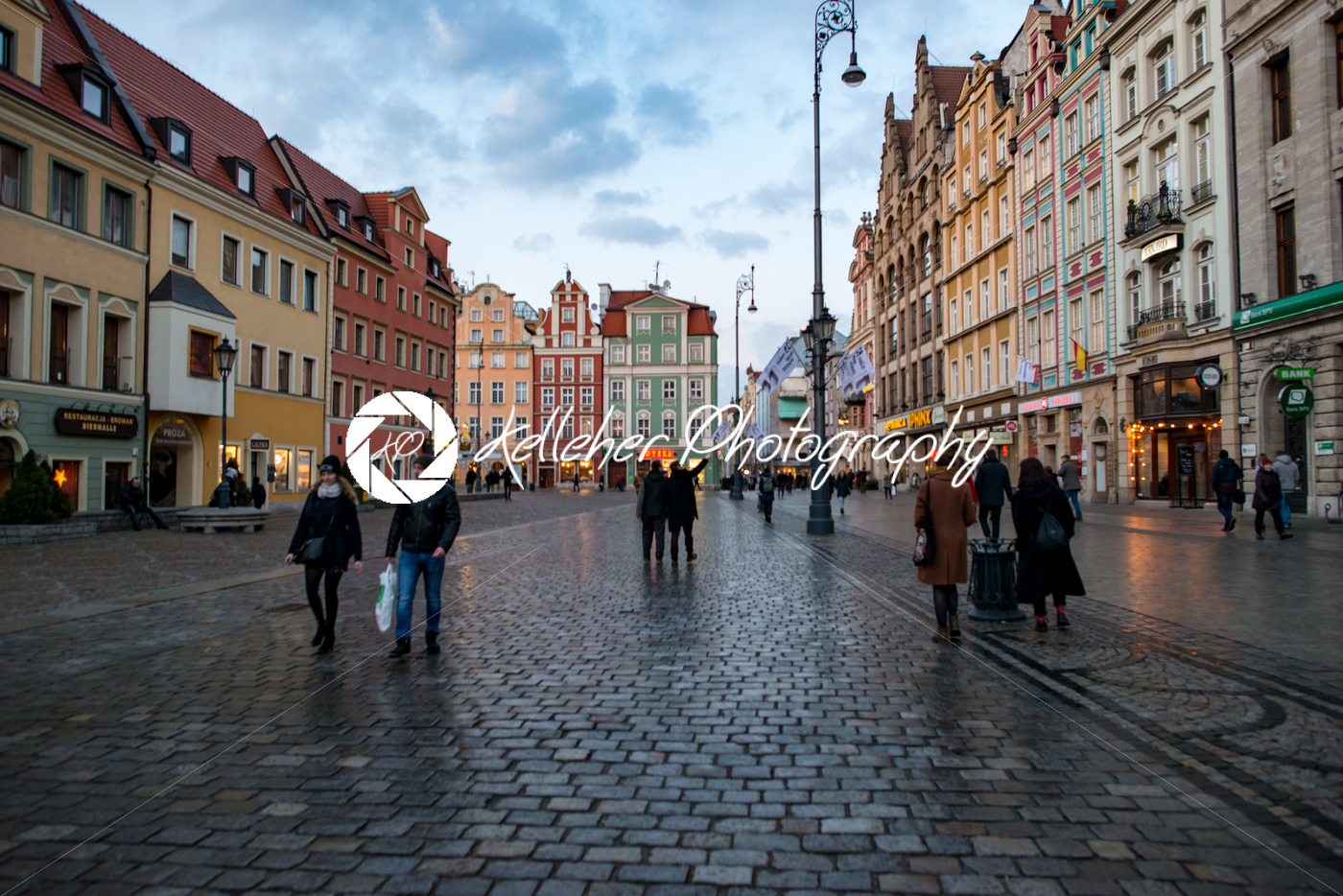 Wroclaw, Poland - March 8, 2018: Wroclaw Market Square in evening after  rain storm in historic capital of Silesia, Poland, Europe