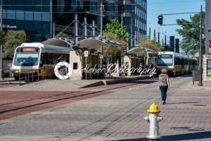 Dallas, Texas – May 7, 2018: The Dallas DART light rail train drives through Dallas, Texas - Kelleher Photography Store
