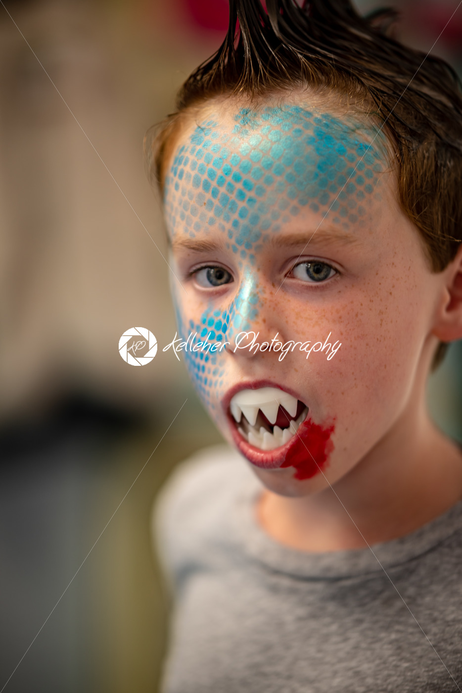 Boy with face painted like a shark - Kelleher Photography Store