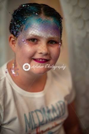 Portrait of a beautiful young mermaid girl at salon getting makeup on - Kelleher Photography Store