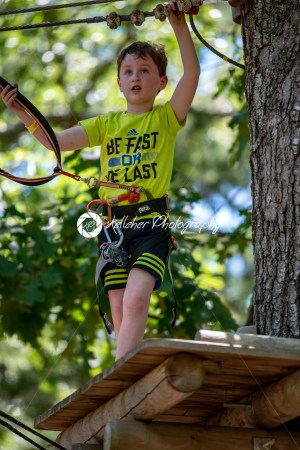 Portrait of a handsome boy on a rope park among trees. Children summer activities. - Kelleher Photography Store