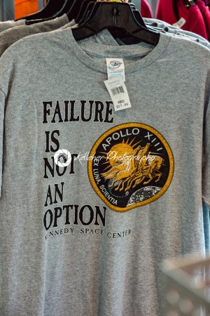 Cape Canaveral, Florida – August 13, 2018: Failure is not an option Apollo 13 shirt at NASA Kennedy Space Center - Kelleher Photography Store