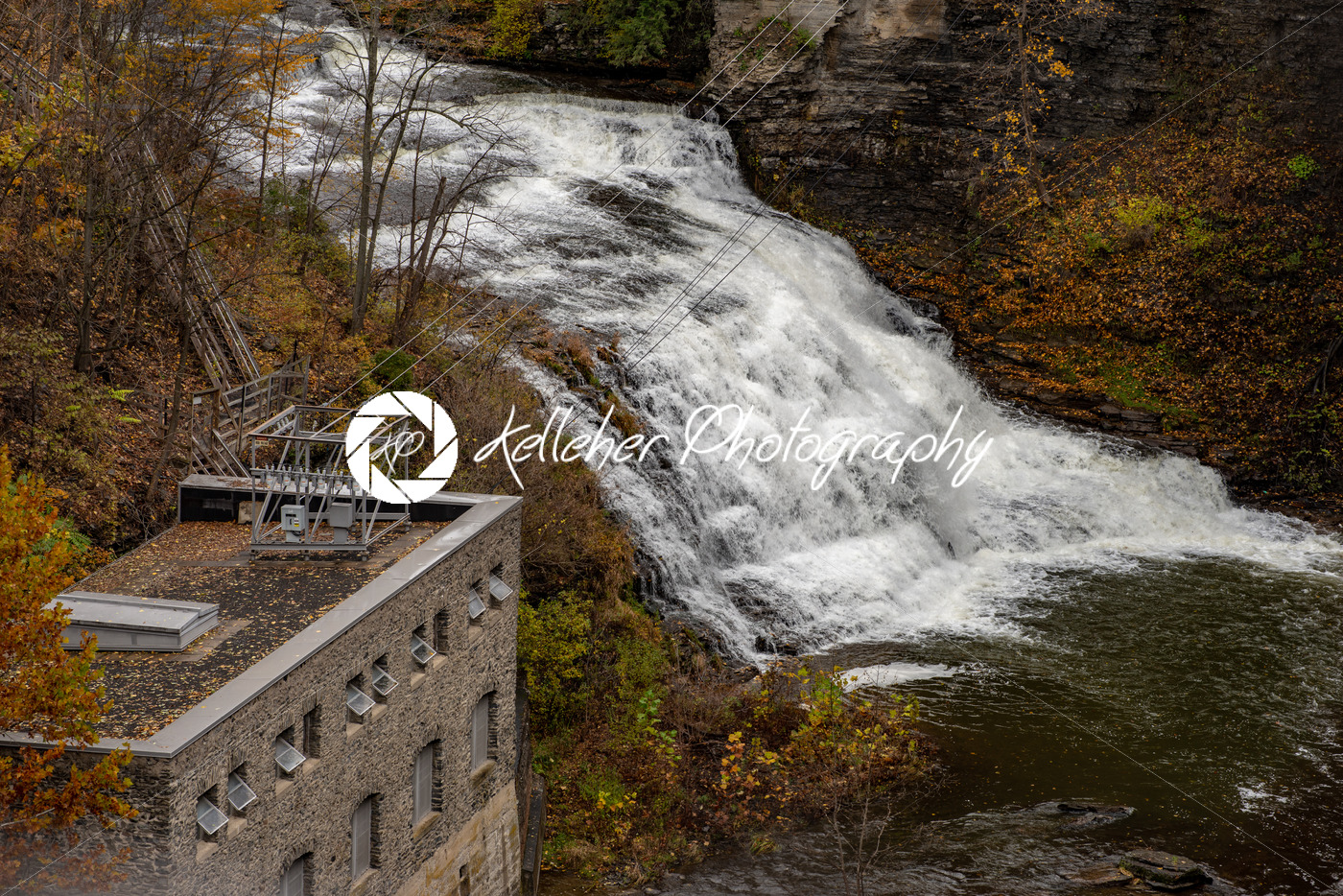 Pedestrian Suspension Bridge over Triphammer Falls, Ithaca, New York. Waterfall in the middle of Cornell University campus - Kelleher Photography Store
