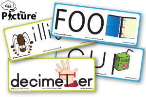 4 example cards from Get the Picture Measuring Benchmarks vocabulary cards: Foot, Cup, Decimeter, Milligram