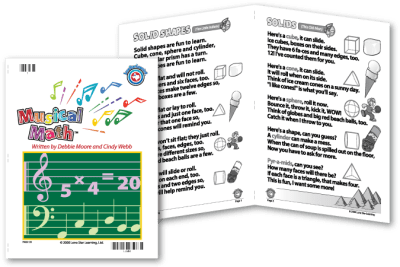 "Book cover and two example pages from Musical Math. The pages show ""Solid Shapes,"" set to the tune of ""Ten Little Indians,"" and ""Solids,"" set to the tune of ""This Old Man."""