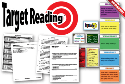 Product image of Target Reading, including Monday-Friday questions, posters, both student think sheets, an answer key, and passage