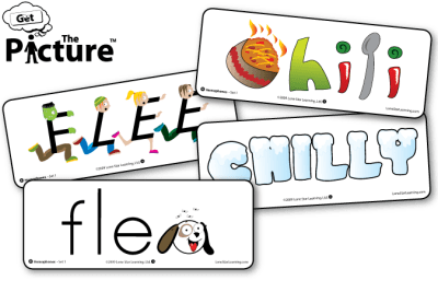 4 example cards from Get the Picture Homophones vocabulary cards: Chili, Chilly, Flee, Flea