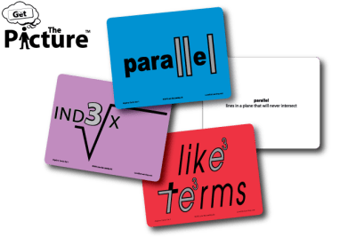 4 example cards from Get the Picture Algebra Cards: Index, Like Terms, Parallel, and the reverse side of Parallel showing the definition.