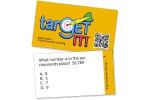 One sample card from TarGET IT! Grade 3 asking what number is int he ten thousands place.