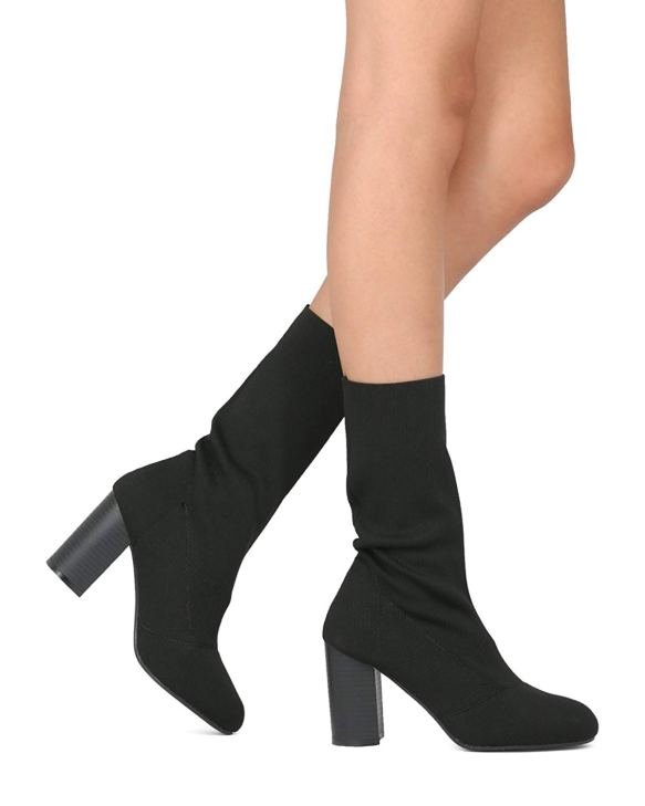 a72ef57940ef Indulge Women Mid Calf Block Heel Sock Boot - Knitted Chunky Heel Tall Boot  - Sophie