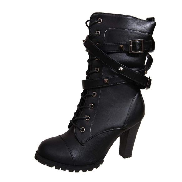5726f16762fa Kintaz Women s Mid Calf Leather Boots High Heel Lace Up Military Buckle  Motorcycle Cowboy Ankle Booties