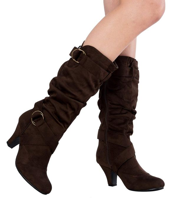 84533f0c9563 OLIVIA K Women s Cozy Mid Calf Faux Suede or leather with Buckle Low Heel  Boots