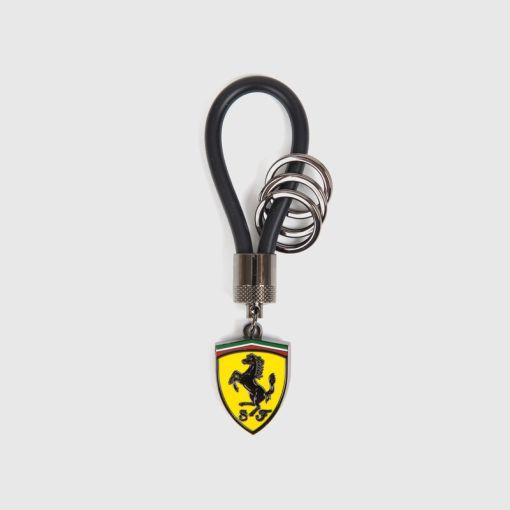 Portachiavi Ferrari con laccio in gomma nero 2