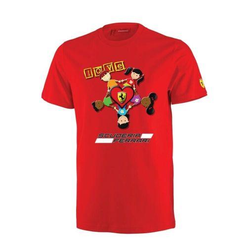 T shirt we love ferrari bambino rossa