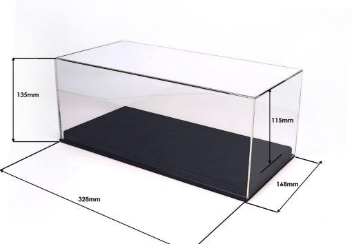 Vetrina in Plexiglass con base Ecopelle nera Modellini BBR scala 1 18 1